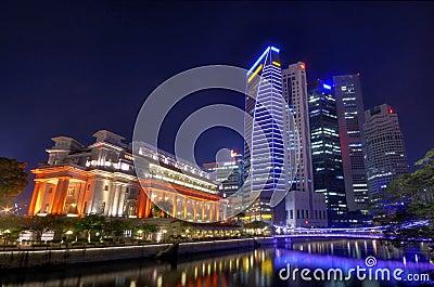 Fullerton Hotel and the Singapore CBD Skyline Editorial Stock Photo