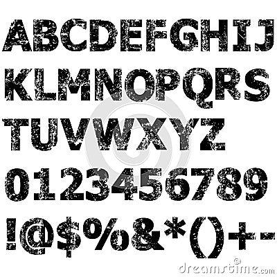 Fullt alfabet för Grunge