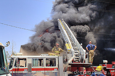 Fully involved building on fire Editorial Photo