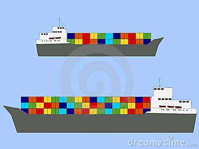 Fully ladened container ships