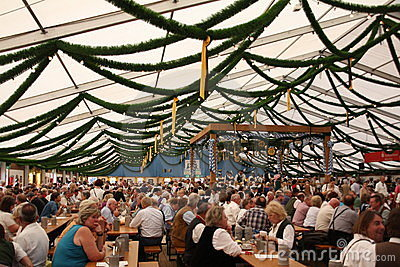 Fully loaded beer tent Editorial Stock Photo