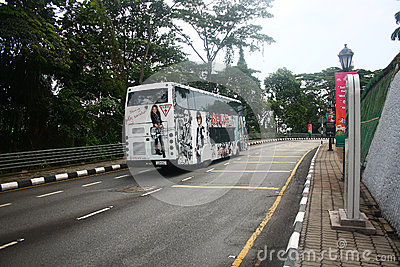 Fully Stickered AC Coach in Kuala Lumpur Editorial Image