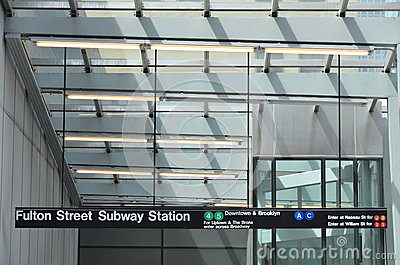 Fulton Street Subway Sign Editorial Photography