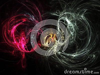 Fumée abstraite/blanc + rouge de fractale