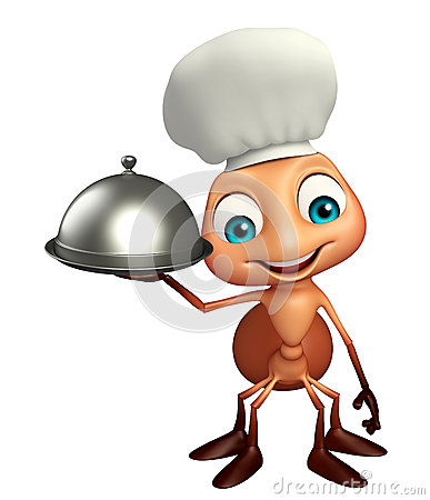 Free Fun Ant Cartoon Character With Chef Hat And Cloche Stock Images - 69233044