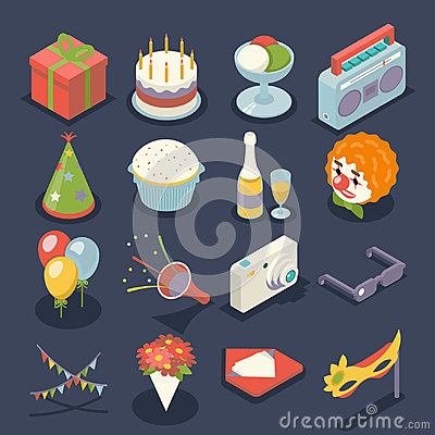 Free Fun Birthday Party Event Celebrate Night Icons And Symbols Holiday Set 3d Isometric Flat Design Vector Illustration Royalty Free Stock Photos - 97241548