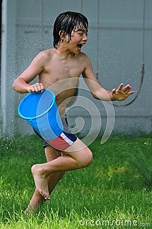 Fun with a blu bucket of water