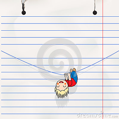 Fun boy hanging on the rope, child s notebook page