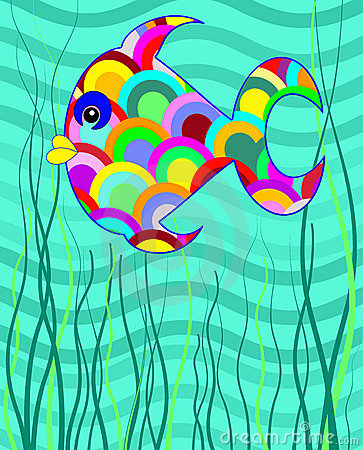 Fun bright cartoon fish