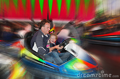 Fun in bumper cars on fair