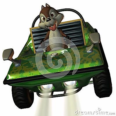 Fun Car with Toon Squirrel