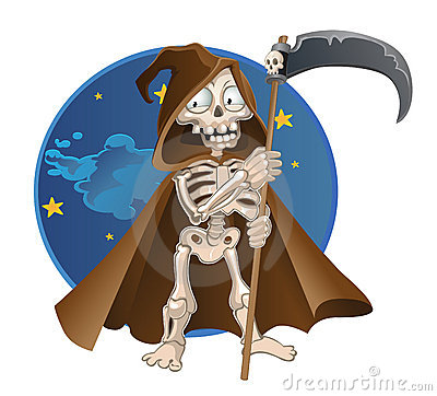 Fun cartoon death on a night sky background