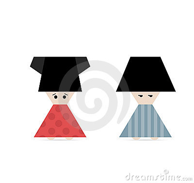 Fun cartoon icon of chinese small people on white