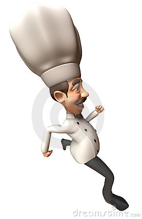 Fun chef running
