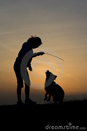 Fun of child and dog in sunset