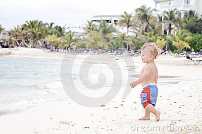 Fun: Child on Tropical Beach