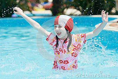 Fun Children Jumping Into Pool Stock Photo Image 63342749