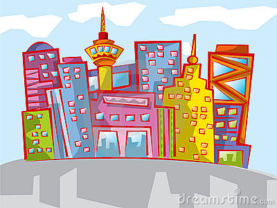 Fun colorful cartoon cityscape