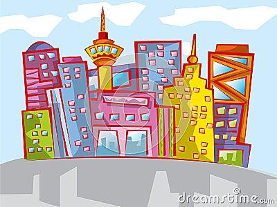 Fun colorful cartoon cityscape