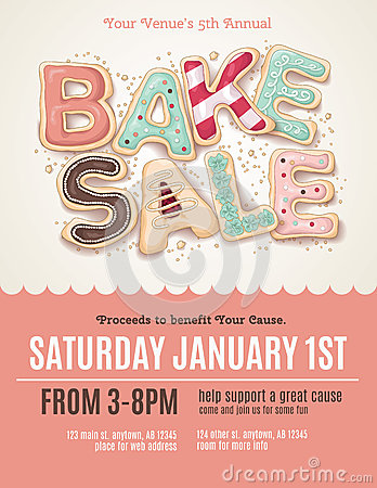 Fun cookie bake sale flyer template