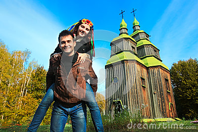 Fun couple and typical Ukrainian church