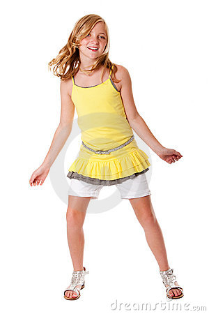 Fun and dancing girl
