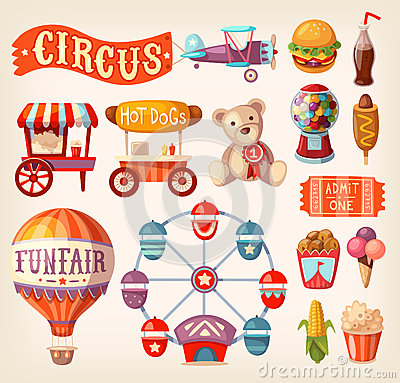 Free Fun Fair Icons Stock Photography - 62240102
