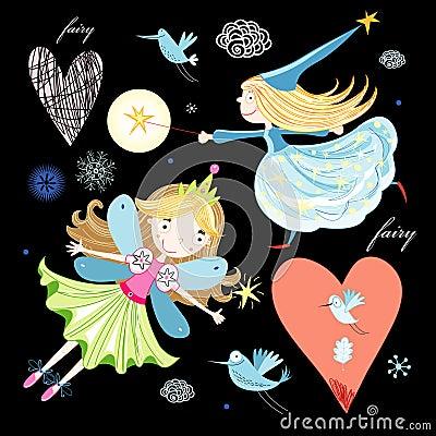 Fun fairy and birds