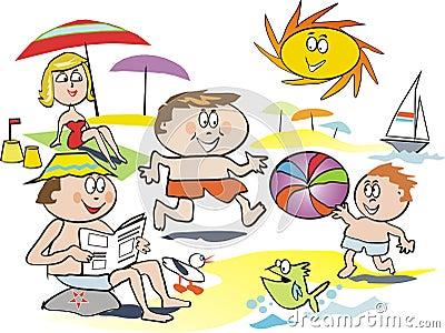 Fun family beach cartoon