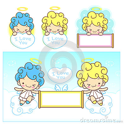 The fun a fleecy clouds on Girls and boys Angel Mascot. Angel Ch