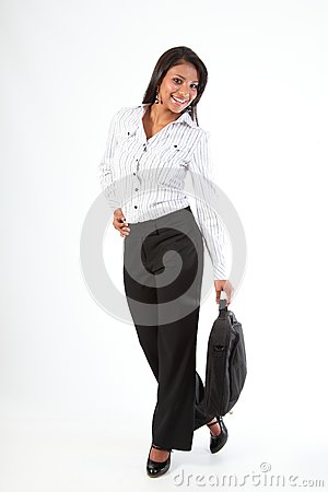 Fun full length pic business woman with laptop bag
