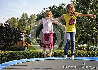 Fun with garden trampoline
