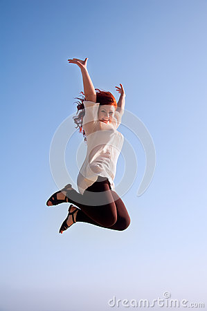 Free Fun Happy Girl, And A Jump Of Freedom Stock Images - 24842124