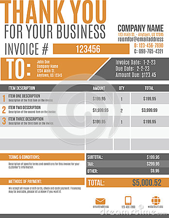 Free Fun Invoice Template Design Royalty Free Stock Images - 40674809