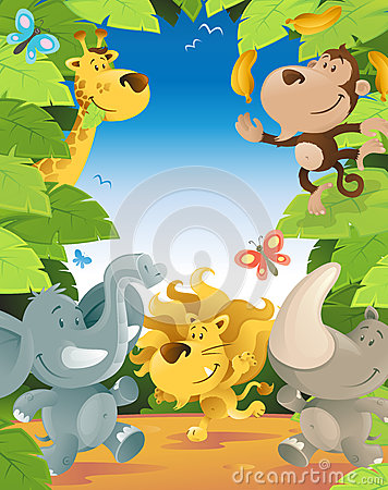 Free Fun Jungle Animals Border Stock Photography - 29564142