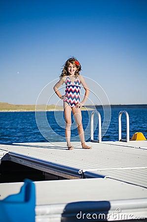 Fun at the lake on dock