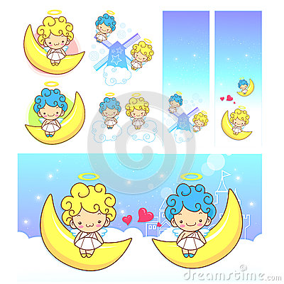 The fun moon on Girls and boys Angel Mascot. Angel Character Des