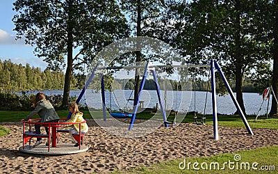 Fun on the outdoor playground