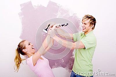 Fun painting couple