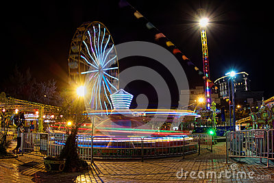 Fun park scene in night long exposure - Vietnam Editorial Image