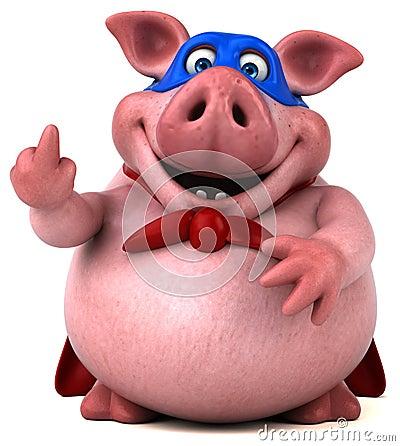 Free Fun Pig - 3D Illustration Stock Images - 81480684