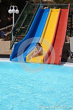 Fun on pool slide