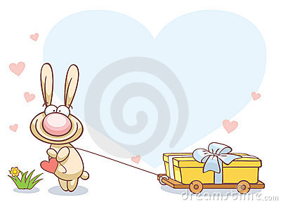 Fun rabbit on Valentine s Day