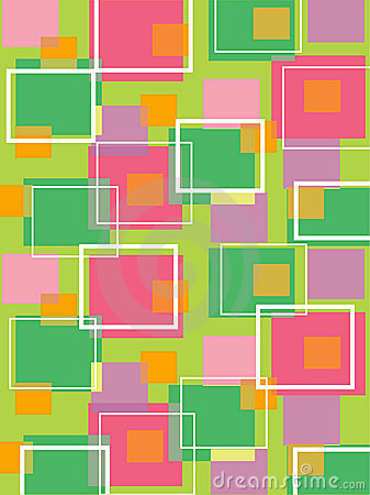 Fun retro cubes green and pink