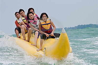 Fun riding banana boat