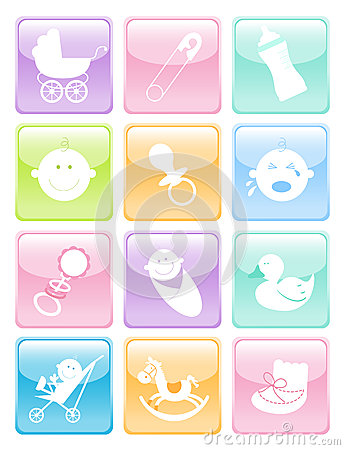 Glossy Baby Icons Set