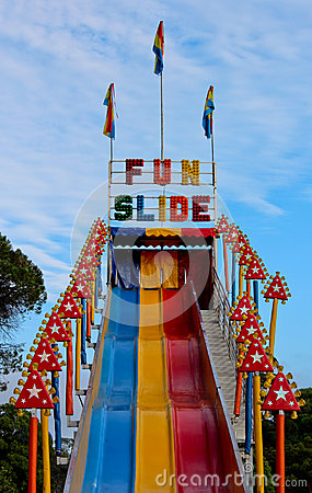 Fun Slide Ride At Outdoor Carnival Stock Photo Image
