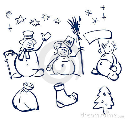 Fun snowmen and elements for design.