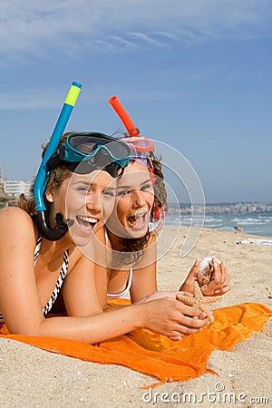 Fun on summer beach vacation