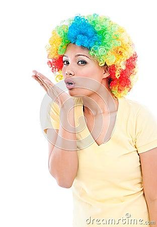Fun Woman Blowing A Kiss